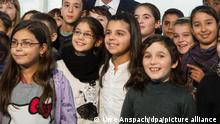 Sinti and Roma children in a Baden-Württemberg school gathering to see the visiting German president Joachim Gauck in 2013