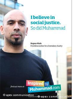 Poster reading I believe in social justice - so did Muhammad.