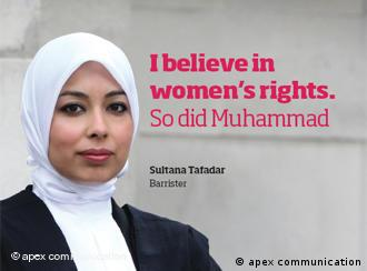 Poster reading I believe in rights for women - so did Muhammad.