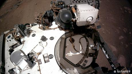 A picture showing the navigation cameras, taken from the rover's mast on Mars