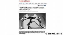 Screenshot | bdnews24 zu Artikel zu Kindesmord