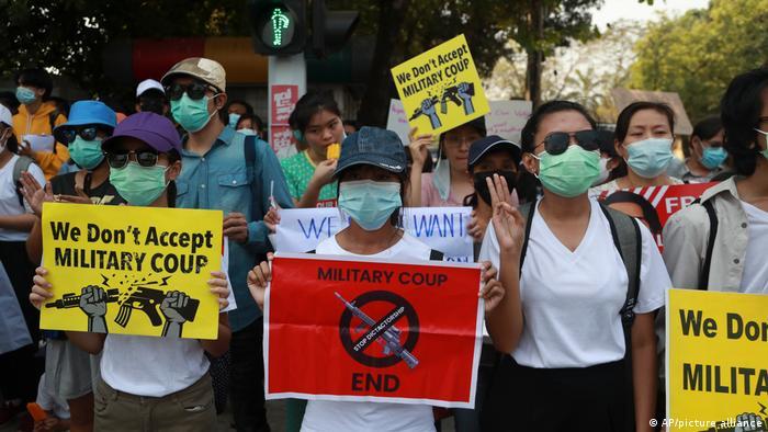 Протесты в Мьянме против военного путча