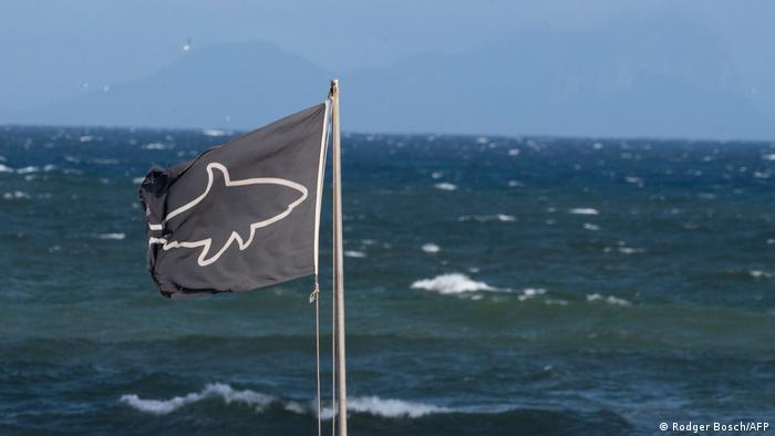 The shark-warning flag at Muizenberg beach