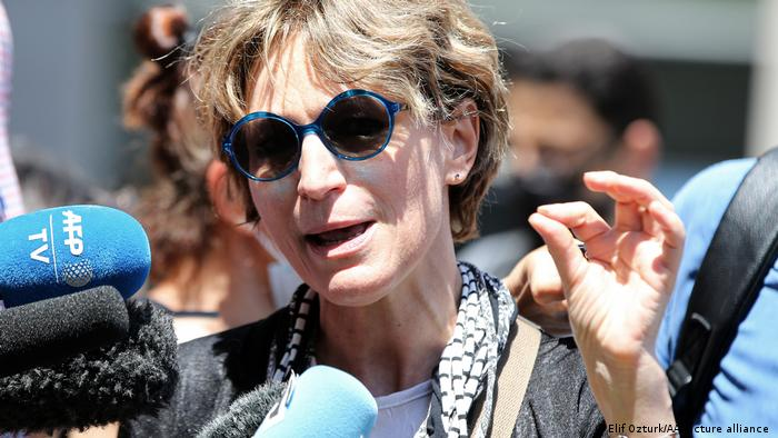 Agnes Callamard speaks to reporters