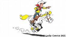 Bild aus der Comicreihe Lucky Luke: Lucky Luke auf seinem Pferd Jolly Jumper im vollen Galopp