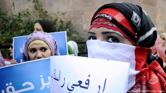 Egyptian women protest against the military council violations and virginity tests on women
