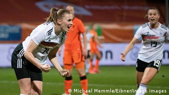 Laura Freigang celebrates a goal