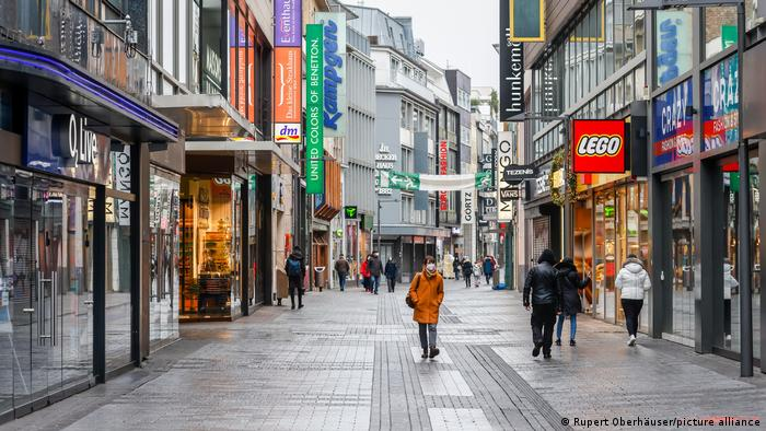 Cologne, downtown, almost empty shopping street