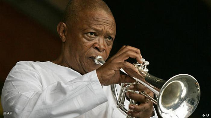 Hugh Masekela with his trumpet (AP)