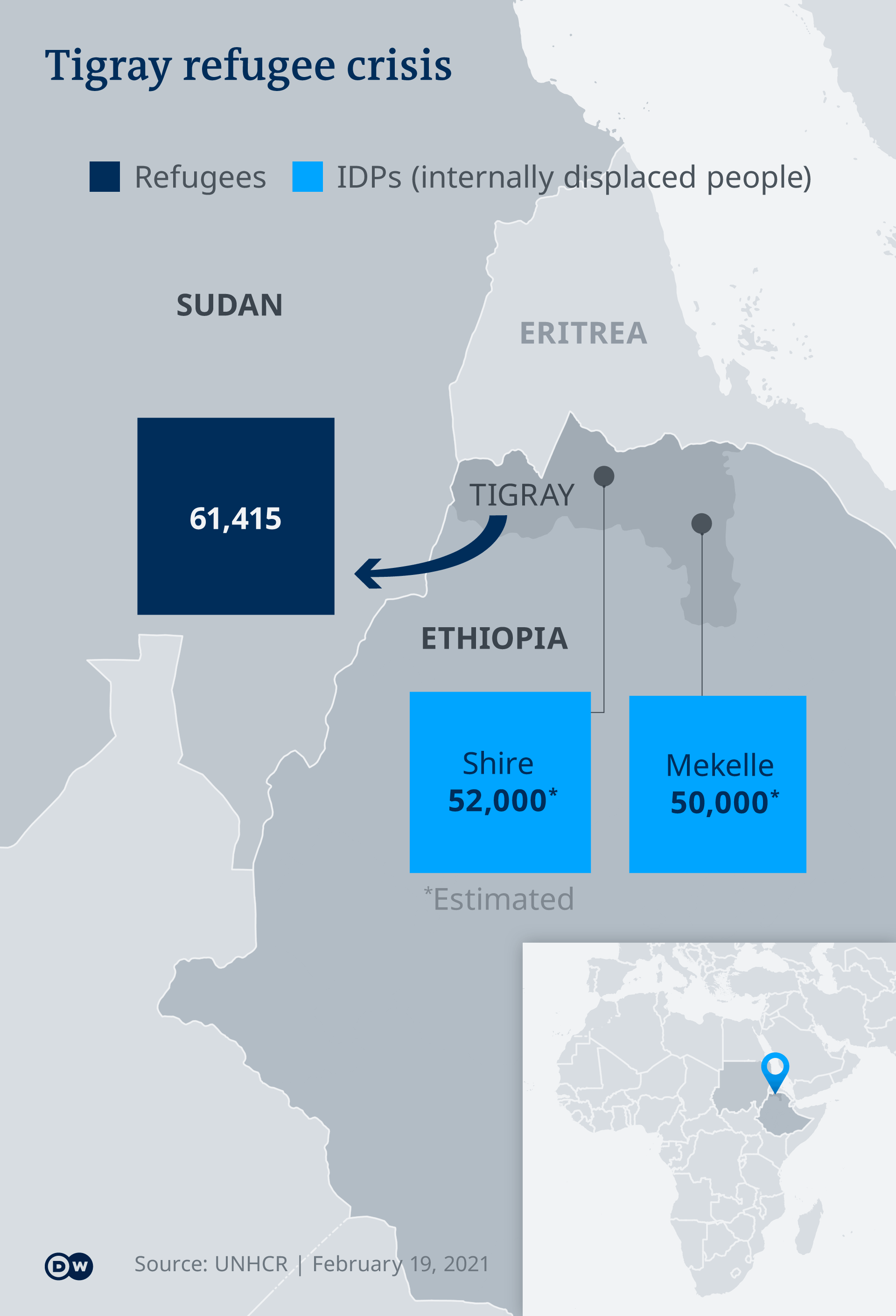 Infografik Karte Flüchtlingssituation in Tigray EN