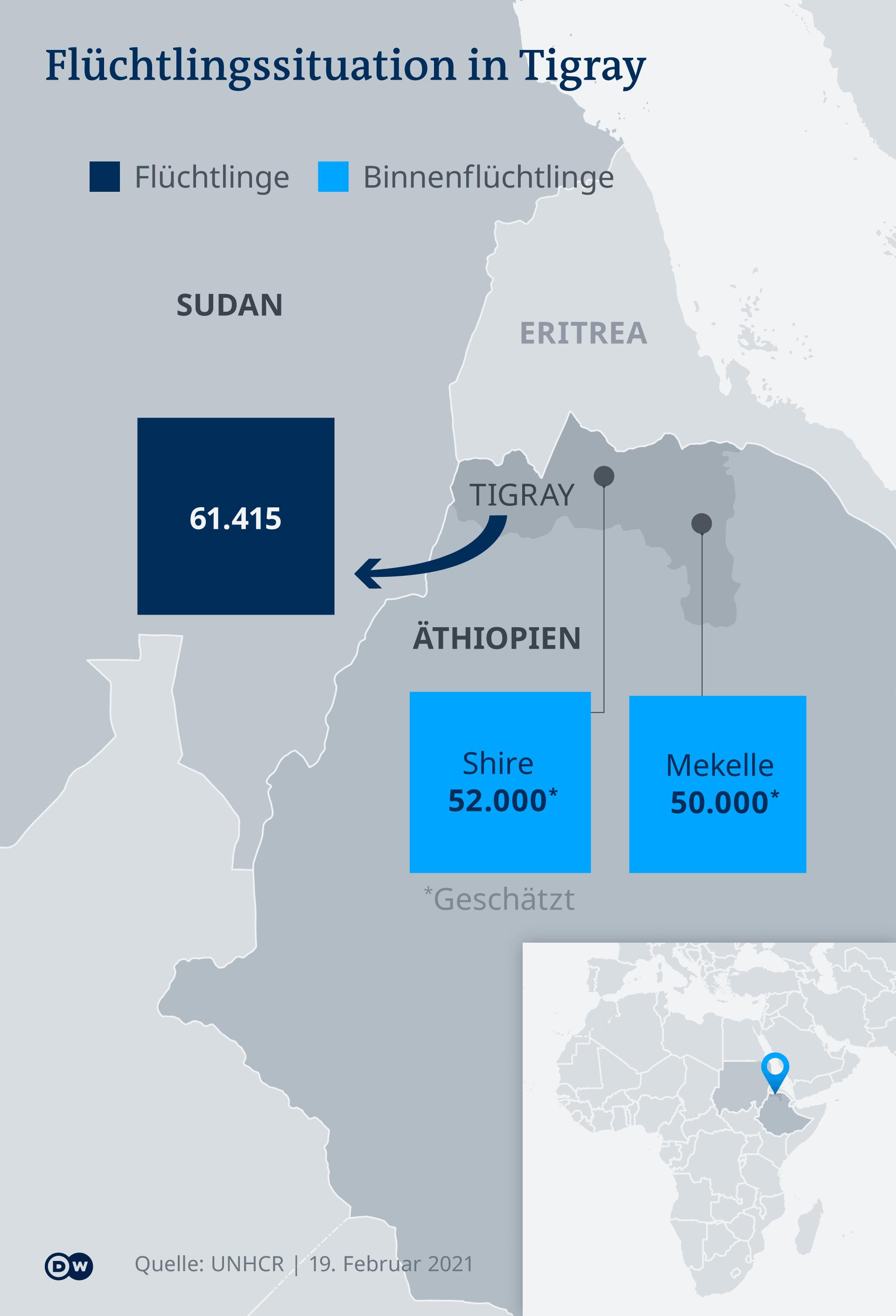 Infografik Karte Flüchtlingssituation in Tigray DE