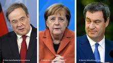 Армін Лашет (ліворуч), Анґела Меркель (у центрі) і Маркус Зедер (праворуч)