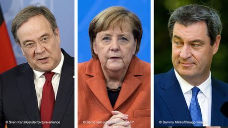 Armin Laschet (l) , Angela Merkel, Markus Söder (r)