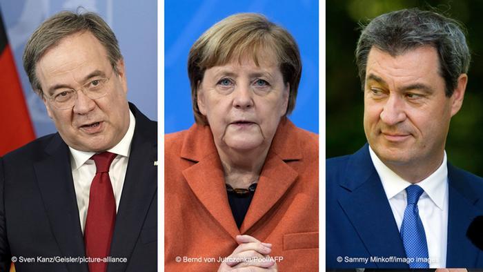 Armin Laschet, Angela Merkel, Markus Söder