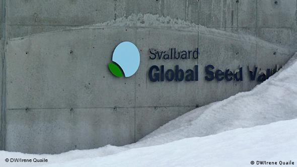 The outside of the seed vault building