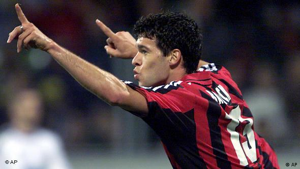 Ballack celebrates a goal while playing for Bayer Leverkusen.