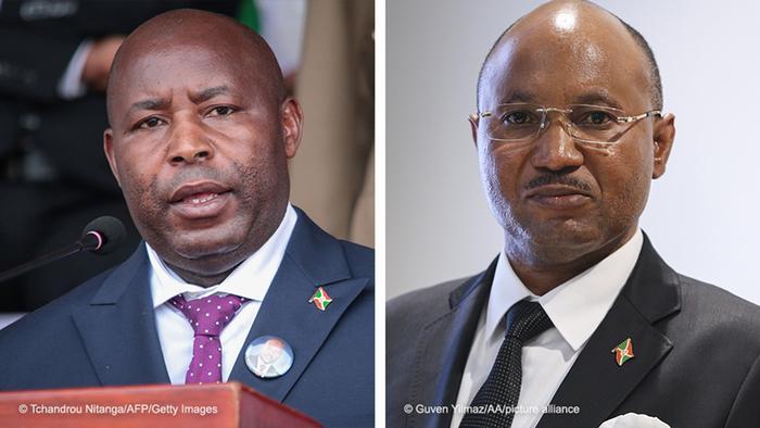 Le président Evariste Ndayishimiye (à gauche) et son Premier ministre Alain-Guillaume Bunyoni (à droite)