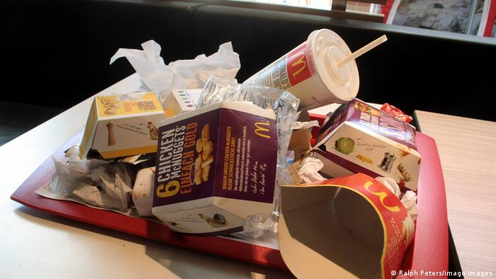 A tray on a table with empty McDonald's fast food packaging