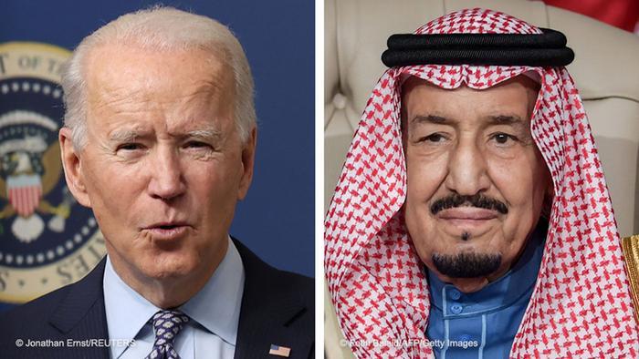 ملک سلمان (راست)، پادشاه عربستان و جو بایدن، رئیس جمهوری آمریکا