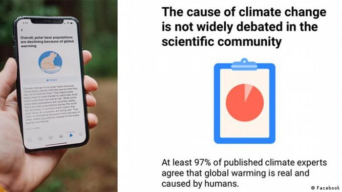 The new Facebook label states that at least 97% of published climate experts agree that global warming is real and caused by humans