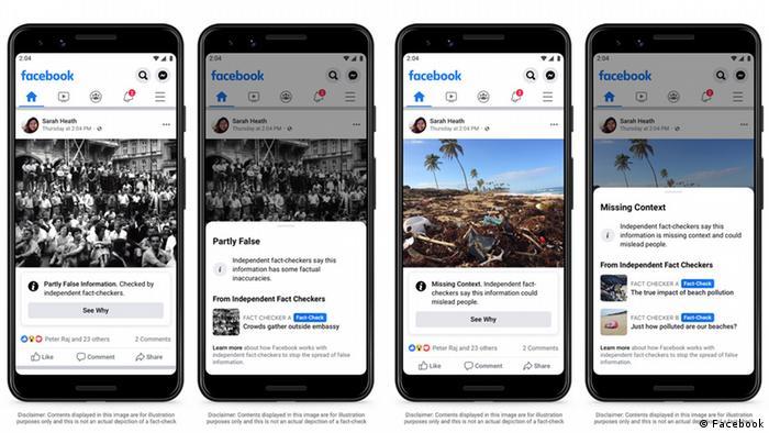 Foto simbólica de cuatro celulares con mensajes de Facebook.