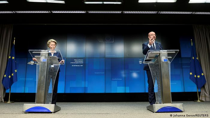 European Commission President Ursula von der Leyen and European Council President Charles Michel hold a news conference following a video conference on security and defense in the bloc