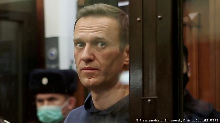 Оппозиционный политик Алексей Навальный в суде, февраль 2021 года