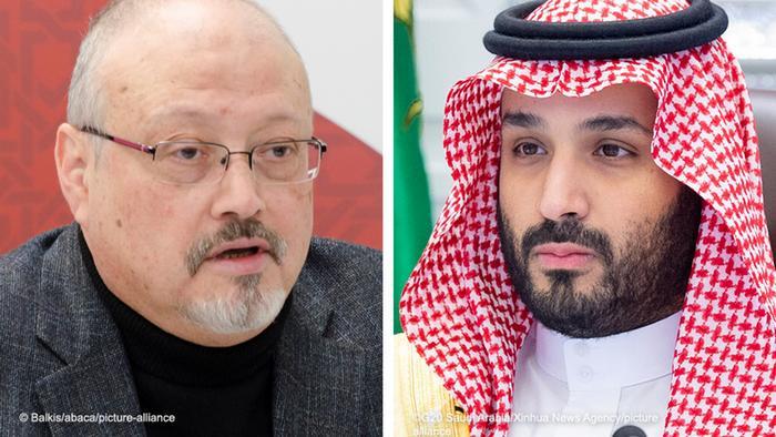 جمال خاشخجی (چپ) و محمد بن سلمان، ولیعهد عربستان