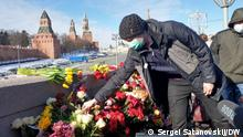 Moskau Moskvoretskij-Brücke Gedenkveranstaltung Boris Nemtsov