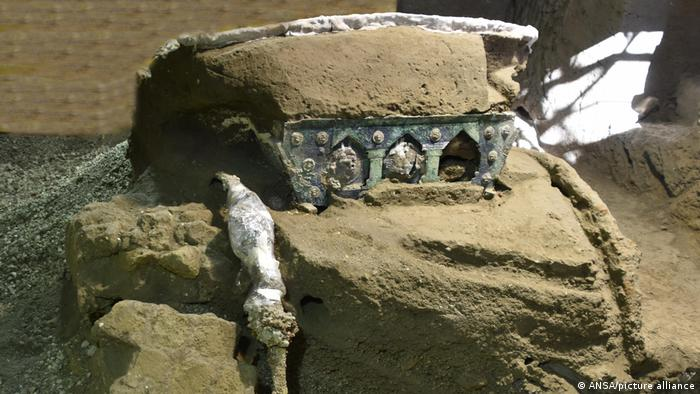 An ancient-Roman ceremonial carriage is discovered in a dig near the ancient Roman city of Pompeii