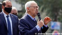 27.02.21 *** Parliament Speaker Rached Ghannouchi, head of the moderate Islamist Ennahda, speaks to supporters during a rally in opposition to President Kais Saied, in Tunis, Tunisia February 27, 2021. REUTERS/Zoubeir Souissi