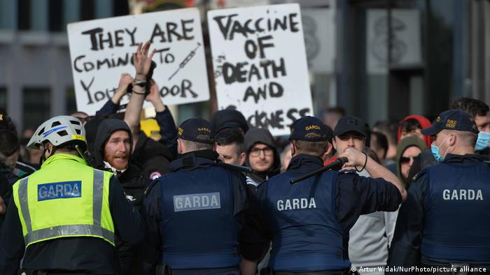 Anti-Lockdown Proteste in Dublin, Irland