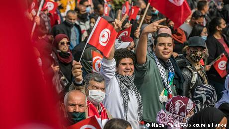 مظاهرة لأنصار حزب النهضة في تونس