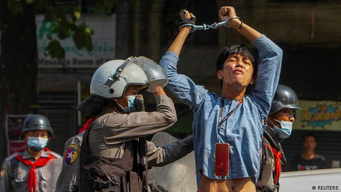 A Myanmar protester arrested in Yangon