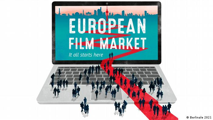 Logo of the European Film Market (EFM), people meeting on a laptop with a red carpet