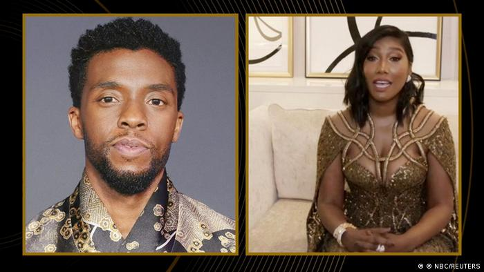 A photo of Boseman on screen with an image of his widow on the right side of the screen, dressed in an evening gown.