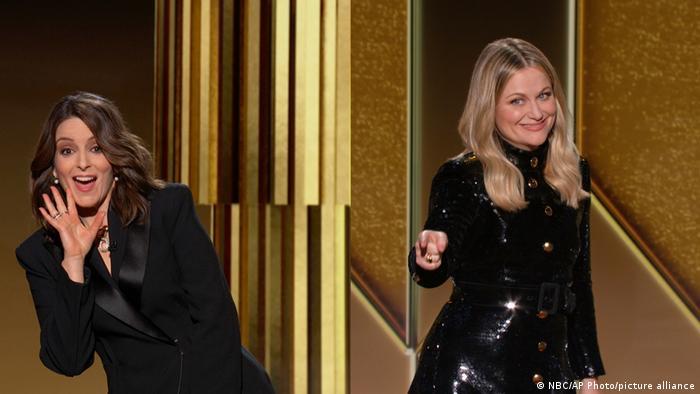 مراسم اعطای جوایز هفتاد و هشتمین دوره جوایز سینمایی و تلویزیونی گلدن گلوب ۲۰۲۱یکشنبه شب (۲۸ فوریه / ۱۰ اسفند) برگزار شد. تینا فی (سمت چپ) و امی پولر به صورت نیمهمجازی (در حضور شماری محدود در سالن) با قدردانی از پرستاران و کادر درمان از لس آنجلس و نیویورک این مراسم را آغاز کردند. برگزیدگان گلدن گلوب امسال که به دلیل پاندمی کرونا اینگونه برگزار شد، به صورت مجازی در مراسم شرکت کردند.