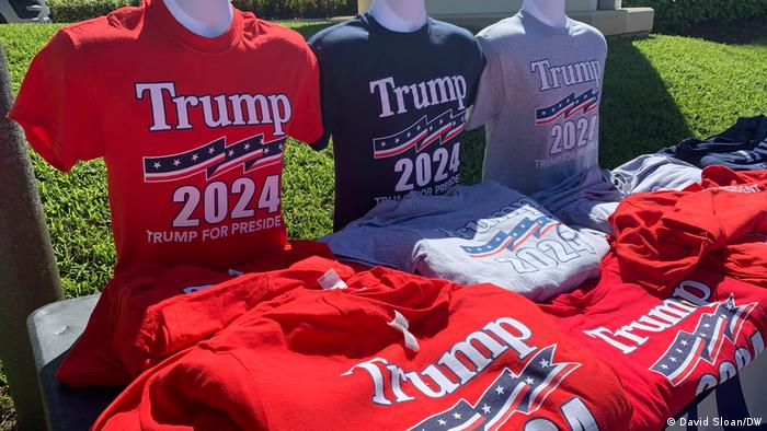 T-shirts bearing the slogan 'Trump 2024 Trump for president'