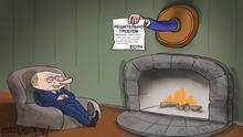Путин у камина не реагирует на решение ЕСПЧ - карикатура Сергея Елкина