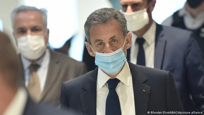Former president Nicolas Sarkozy arrives at court