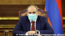 Armenian Prime Minister Nikol Pashinyan wearing a face mask as he attends a Security Council meeting in Yerevan, Armenia on March 01, 2021.