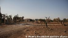 Syrien Von Bomben und Dürre verwüstete Gegend in Binnisch