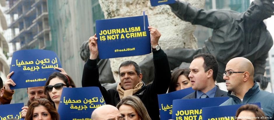 مظاهرة للصحافيين في لبنان