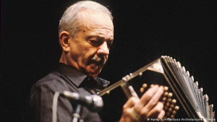 Astor Piazzolla playing the bandoneon.