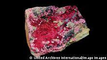 Erythrite or red cobalt is a secondary hydrated cobalt arsenate mineral. From the Mount Colbalt mine, Queensland, Australia. Dated 2015 WHA PUBLICATIONxINxGERxSUIxAUTxONLY !ACHTUNG AUFNAHMEDATUM GESCHƒTZT! Copyright: WHA UnitedArchivesWHA_068_0181 erythritol or Red Cobalt IS a Secondary hydrated Cobalt arsenate Mineral from The Mount Mine Queensland Australia dated 2015 Wha PUBLICATIONxINxGERxSUIxAUTxONLY Regard date estimated Copyright Wha UnitedArchivesWHA_068_0181