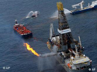 Activity at the Deepwater Horizon oil platform in the Gulf of Mexico