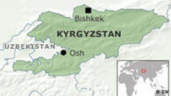 Map of Kyrgyzstan showing the capital, Bishkek, and Osh, the scene of riots earlier this year
