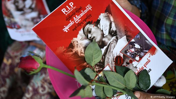 A mourner attends the funeral of Nyi Nyi Aung Htet Naing, who died from a gunshot wound while attending a demonstration in Yangon, on Tuesday, March 2. Demonstrators took to the streets across Myanmar despite seeing the bloodiest weekend since February's coup.