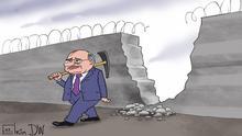 Горбачев пробивает стену - карикатура Сергея Елкина