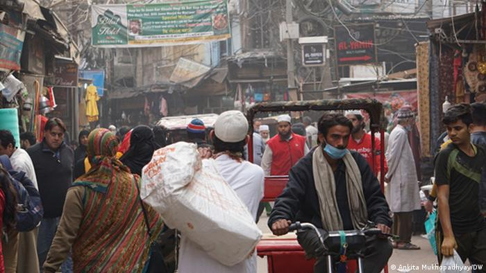A crowded street in Old Delhi